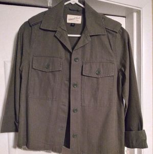 Women's Military Green Casual Jacket XS